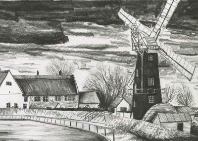 The Broads, Norfolk - walk 3 #53 - mixed media drawing