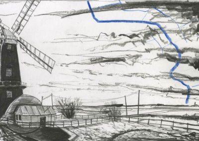The Broads, Norfolk - walk 3 #54 - mixed media drawing