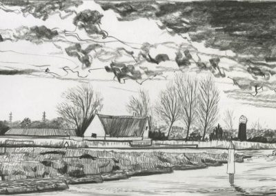 The Broads, Norfolk - walk 3 #55 - mixed media drawing