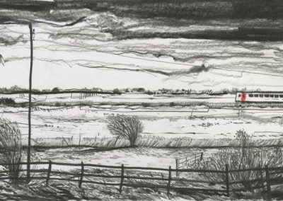 The Broads, Norfolk - walk 3 #56 - mixed media drawing