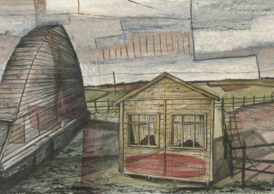 The Broads, Norfolk - walk 3 #60 - mixed media drawing