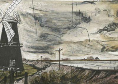 The Broads, Norfolk - walk 3 #64 - mixed media drawing