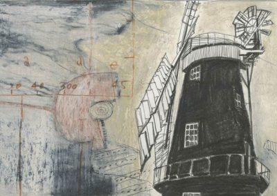 The Broads, Norfolk - walk 3 #65 - mixed media drawing