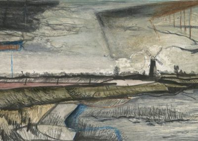 The Broads, Norfolk - walk 3 #72 - mixed media drawing