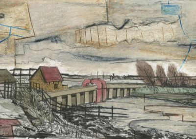 The Broads, Norfolk - walk 3 #76 - mixed media drawing