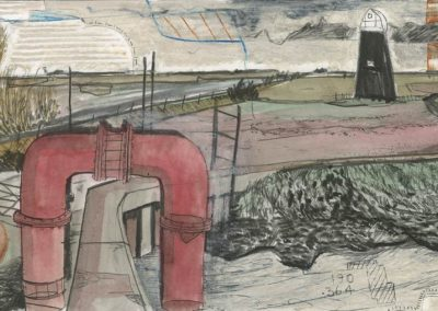 The Broads, Norfolk - walk 3 #78 - mixed media drawing