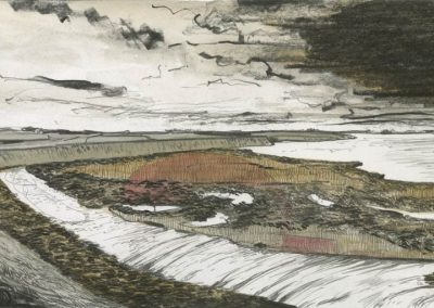 The Broads, Norfolk - walk 3 #81 - mixed media drawing
