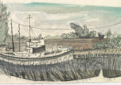 The Broads, Norfolk - walk 5 #07 - mixed media drawing
