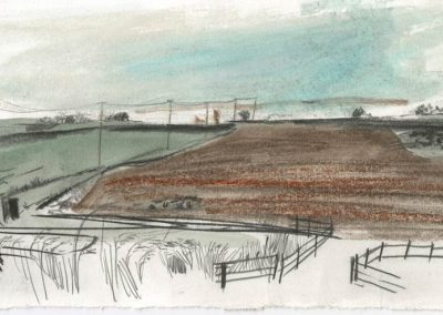 The Broads, Norfolk - walk 5 #09 - mixed media drawing
