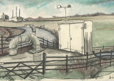The Broads, Norfolk - walk 5 #12 - mixed media drawing