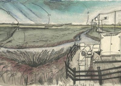 The Broads, Norfolk - walk 5 #13 - mixed media drawing