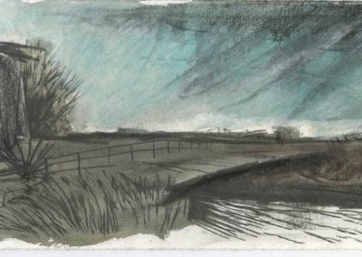 The Broads, Norfolk - walk 5 #14 - mixed media drawing