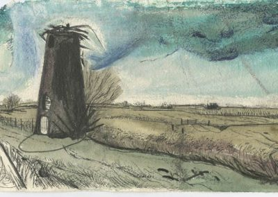 The Broads, Norfolk - walk 5 #15 - mixed media drawing