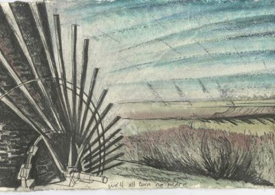 The Broads, Norfolk - walk 5 #18 - mixed media drawing