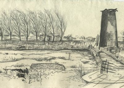 The Broads, Norfolk - walk 5 #23 - mixed media drawing