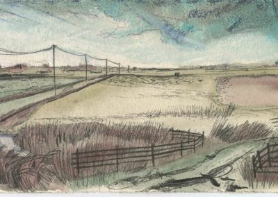 The Broads, Norfolk - walk 5 #33 - mixed media drawing