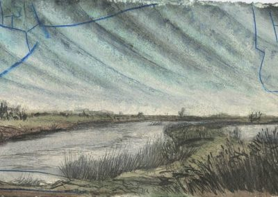 The Broads, Norfolk - walk 5 #34 - mixed media drawing