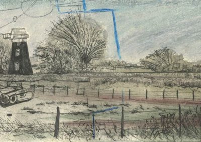 The Broads, Norfolk - walk 5 #36 - mixed media drawing