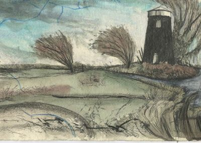 The Broads, Norfolk - walk 5 #41 - mixed media drawing