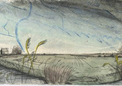The Broads, Norfolk - walk 5 #43 - mixed media drawing