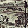 Walking the Tide Line - wood engraving by Neil Bousfield