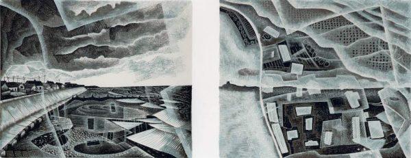 Walcott : Vanishing Land - wood engraving by Neil Bousfield