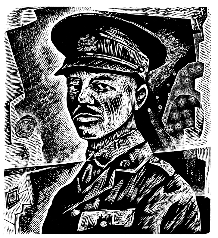 Portrait of Wilfred Owen - engraving by Neil Bousfield