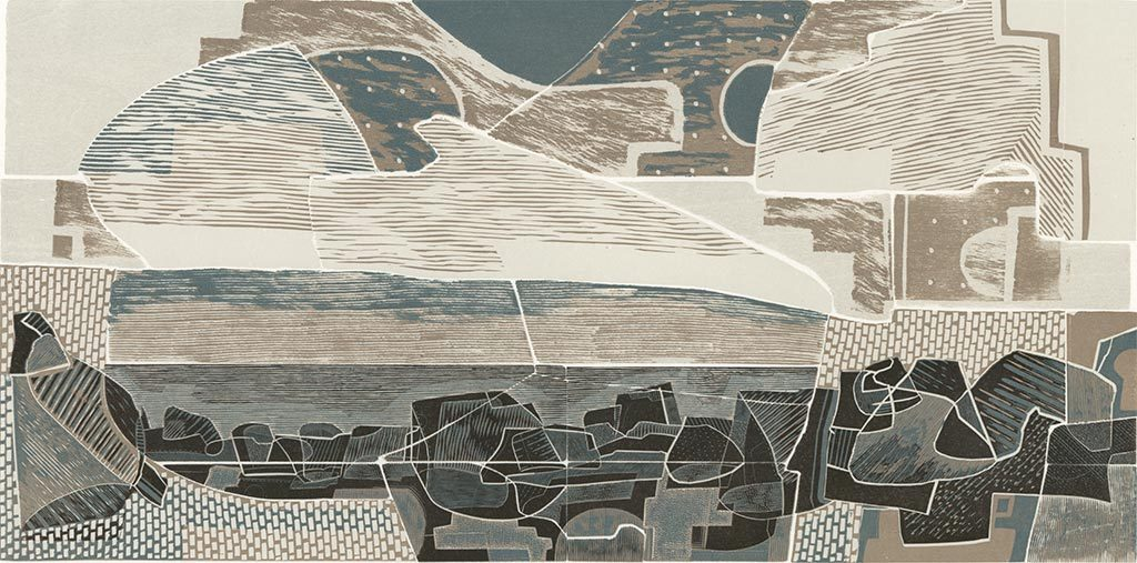 Land and Sea, Past and Present I - linocut, woodcut and engraving by Neil Bousfield