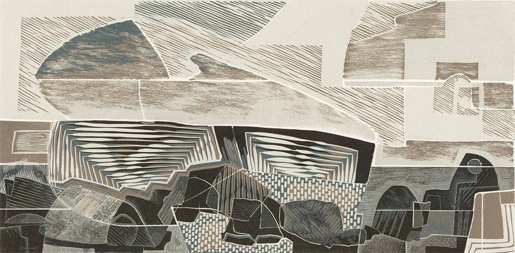 Land and Sea, Past and Present II - linocut, woodcut and engraving by Neil Bousfield