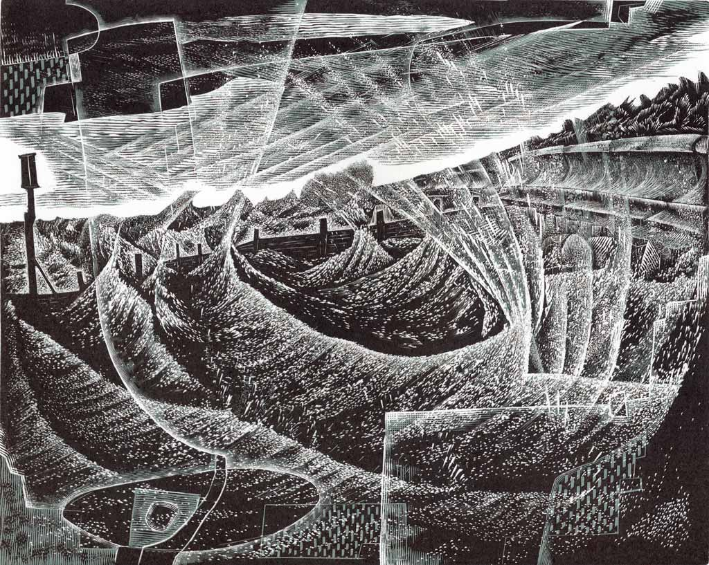 Winter Sea II - wood engraving by Neil Bousfield