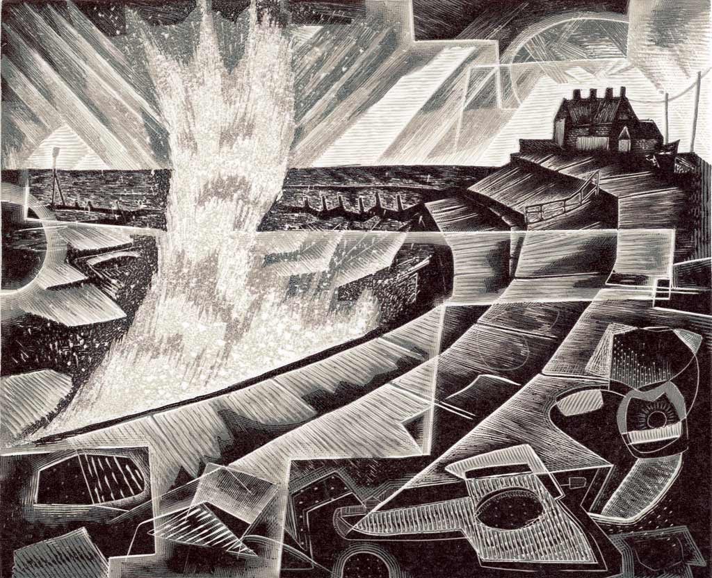 Seventh Wave - wood engraving by Neil Bousfield