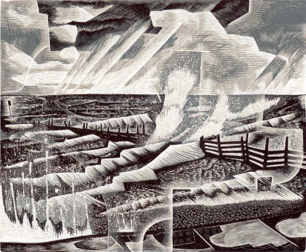 Storm Past - wood engraving by Neil Bousfield